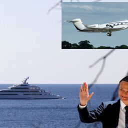 """Jack Ma with his superyacht """"Zen"""" and his private plane. 21-10-2021 Majorca Daily Bulletin reporter"""